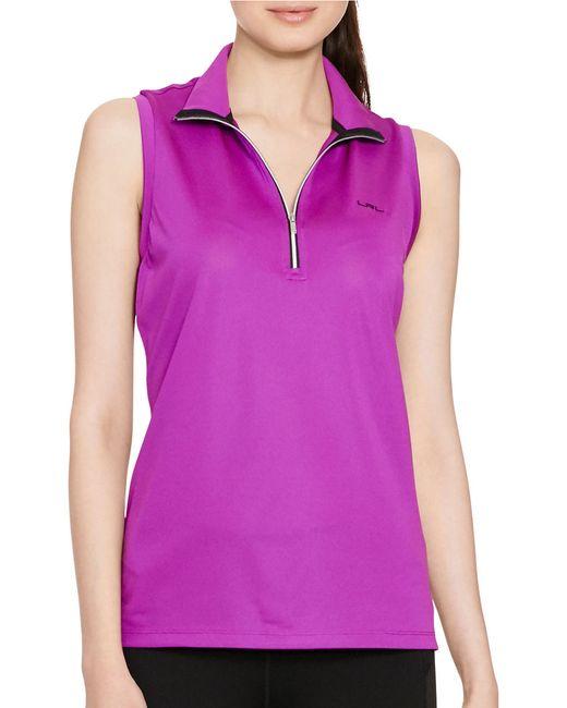 Lauren By Ralph Lauren Sleeveless Mock Neck Shirt In