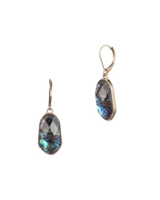 Lonna & Lilly Metallic Faceted Stone Leverback Drop Earrings