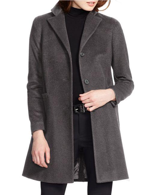 Lauren by Ralph Lauren | Gray Reefer Wool-Blend Coat | Lyst