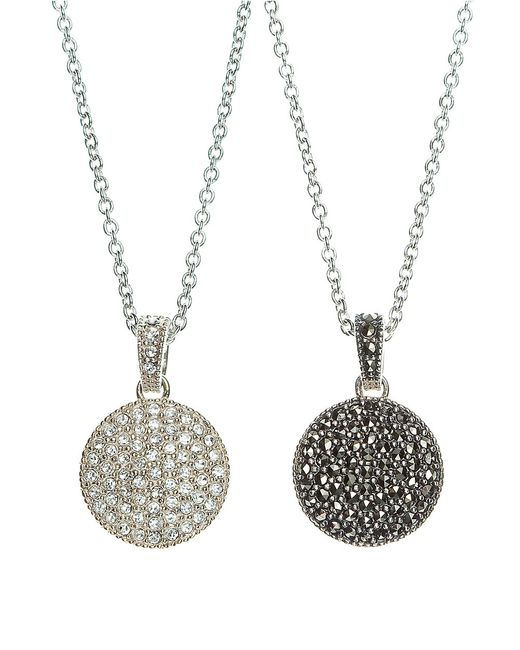 Judith Jack   Metallic Crystal And Marcasite Pendant Necklace   Lyst