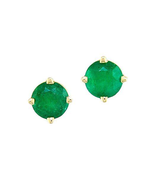 Effy | Green Emerald And 14k Gold Stud Earrings | Lyst