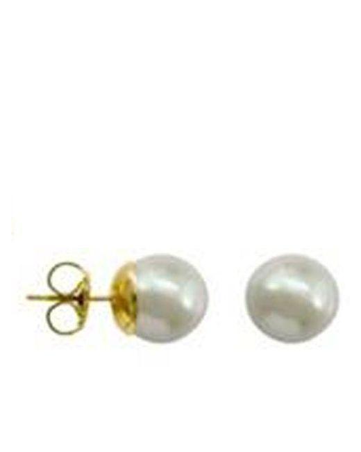Majorica   10mm White Stud Manmade Organic Pearl Earrings   Lyst