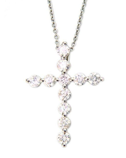 Effy | Classique 14k White Gold Diamond Cross Pendant Necklace | Lyst