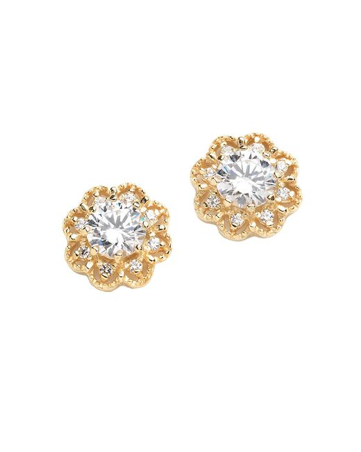 Lord & Taylor | Metallic 18k Gold Over Sterling Silver And Cubic Zirconia Earrings | Lyst