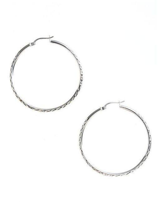 Lord & Taylor | Gray Sterling Silver Textured Hoop Earrings | Lyst