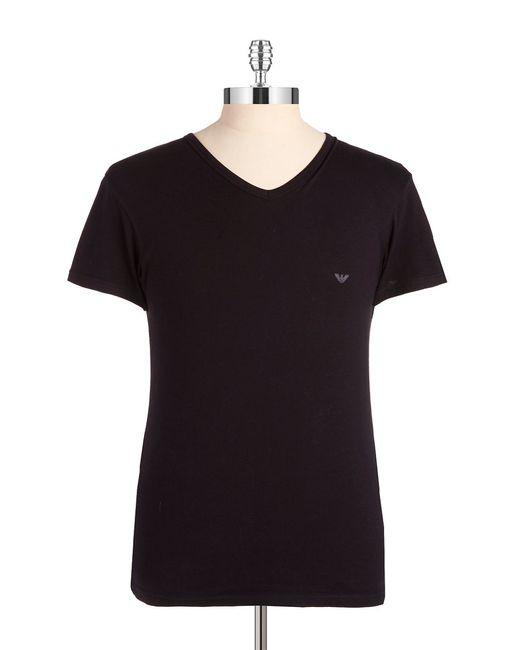 Emporio Armani | Black Stretch Cotton V-neck T-shirt for Men | Lyst