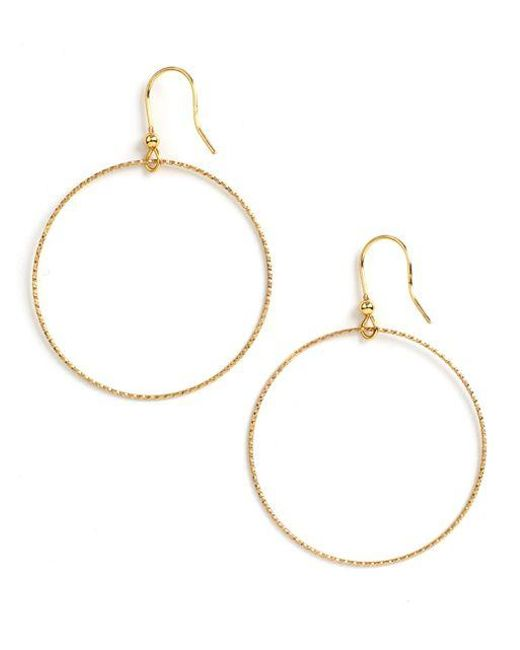 Lord & Taylor | Metallic 18k Gold Over Sterling Silver Textured Hoop Drop Earrings | Lyst