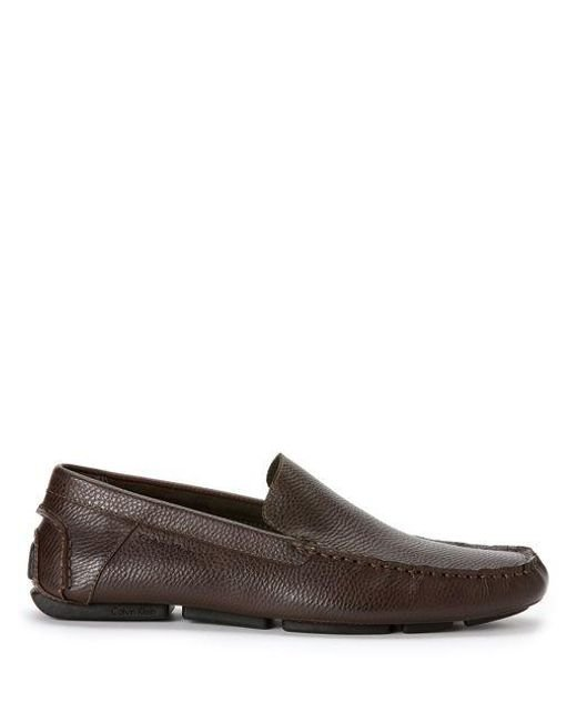 Calvin Klein | Brown Miguel Tumbled Leather Driver Moccasins for Men | Lyst
