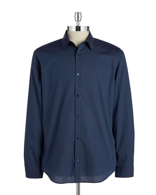 Calvin Klein | Blue Tonal Stripe Sportshirt for Men | Lyst