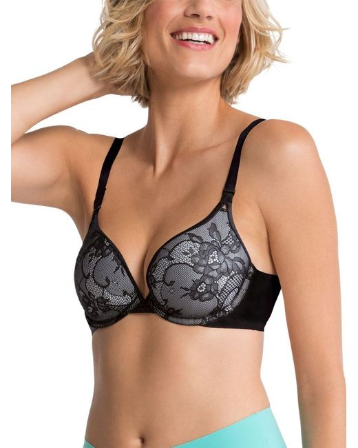 Spanx   Black Pillow Cup Lace Push-up Plunge Bra   Lyst