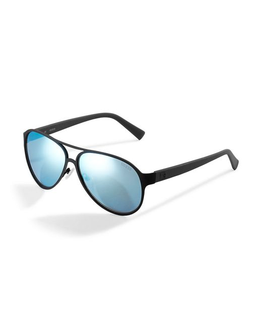 Guess | Black Matte Metal Aviator Sunglasses for Men | Lyst