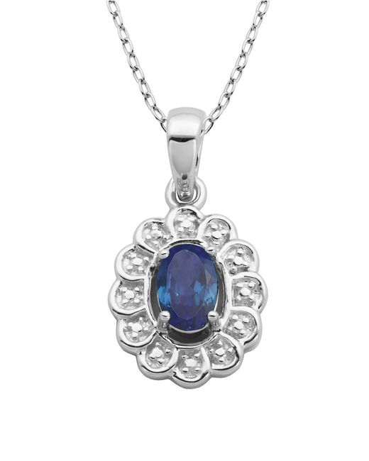 Lord & Taylor | Blue September Birthstone Sterling Silver Necklace | Lyst
