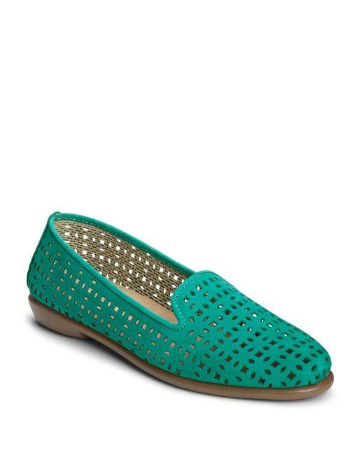 Aerosoles | Green Cutwork Leather Loafers | Lyst