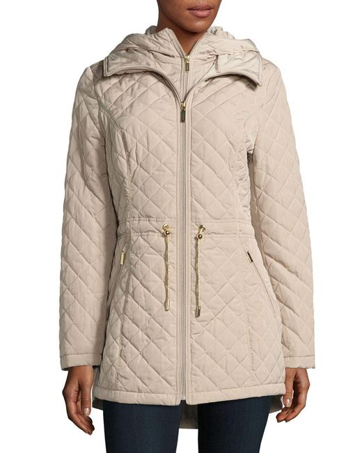 Laundry by Shelli Segal | Natural Quilted Hooded Jacket | Lyst