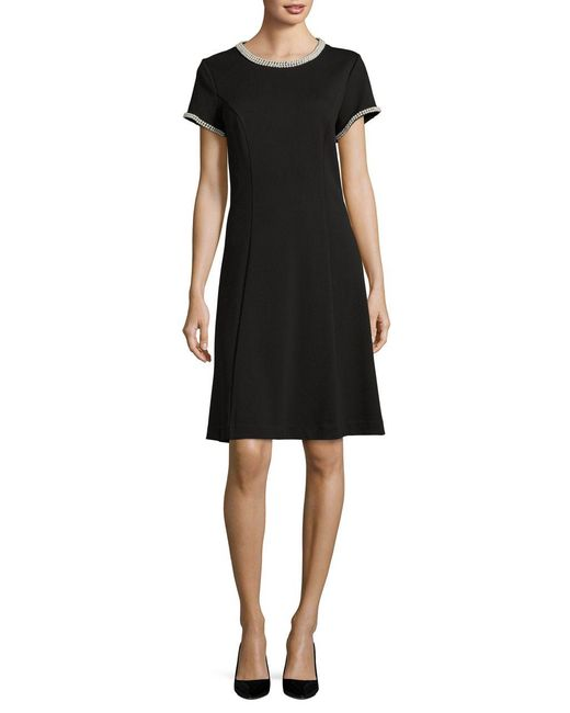 Karl Lagerfeld Pearl Embellished Flare Dress In Black Lyst