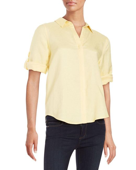 Lord & Taylor | Multicolor Button-tab Sleeved Blouse | Lyst