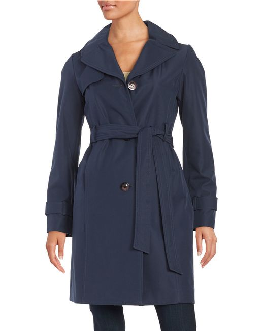 Ellen Tracy | Blue Water-resistant Hooded Trench | Lyst