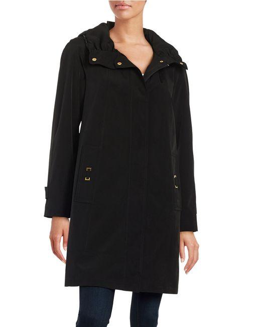 Gallery | Black Petite Zip-front Rain Coat | Lyst
