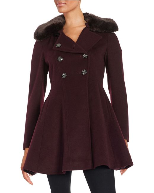 Womens Via Spiga Wool Blend Coat, Size 14 - Grey
