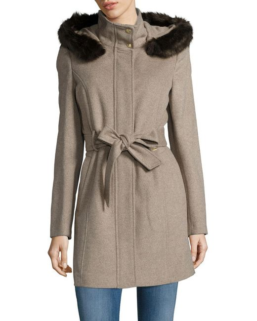 Ellen Tracy | Gray Faux Fur Trim Wool Blend Car Coat | Lyst