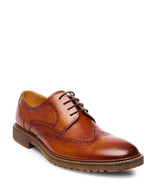 Steve Madden | Brown Leather Wingtip Oxfords for Men | Lyst