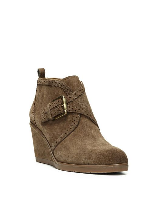 Franco Sarto | Green Arielle Suede Wedge Boots | Lyst