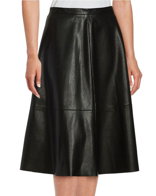 lord faux leather a line skirt in black lyst