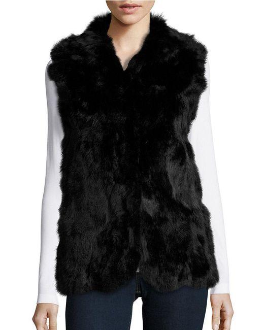 Adrienne Landau | Black Rabbit Fur Vest | Lyst