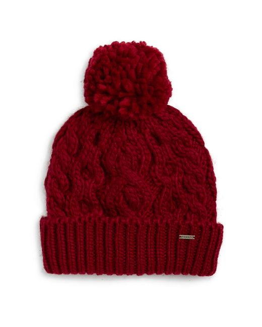 Rella Cable Knit Pom Pom Fleece Lined Beanie In Red Lyst