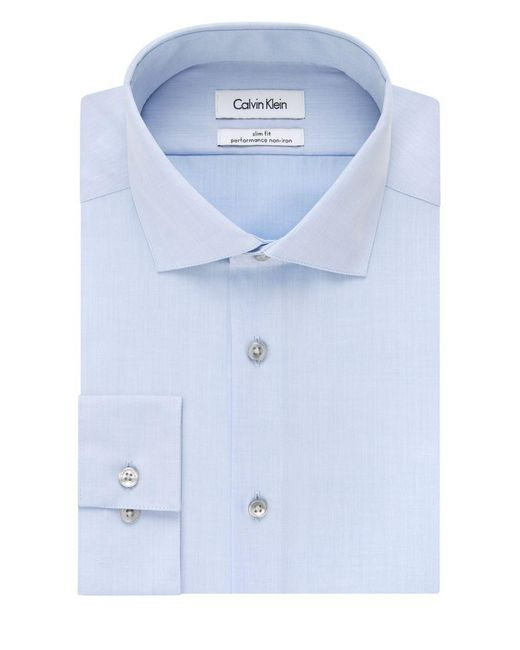 Calvin Klein | Blue Steel Men's Slim-fit Non-iron Performance Solid Dress Shirt for Men | Lyst