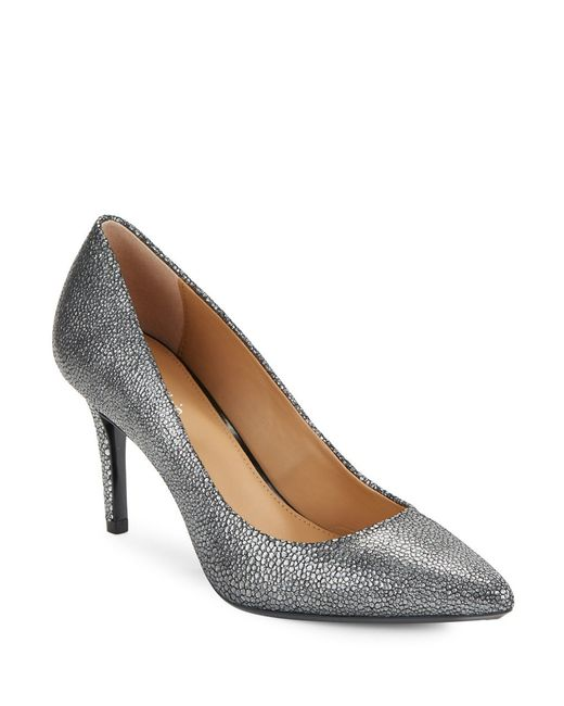 Calvin Klein | Gray Gayle Embossed Leather Pumps | Lyst