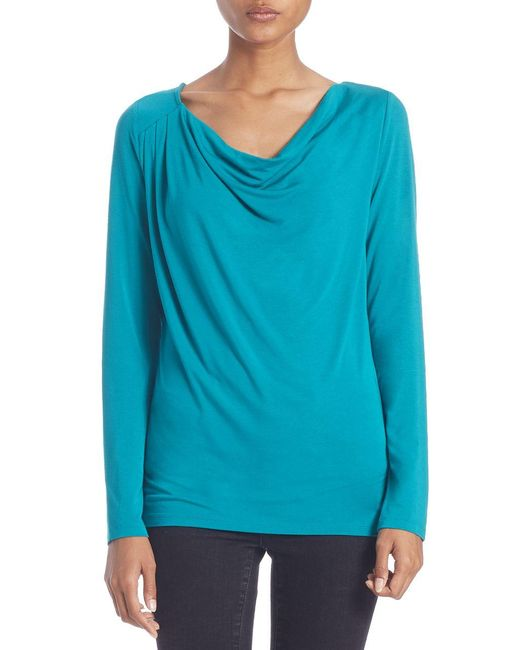 Lord & Taylor | Blue Draped Neck Blouse | Lyst