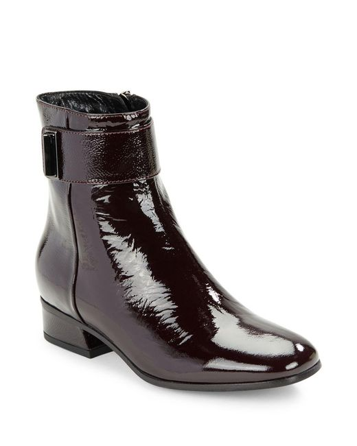 aquatalia lupita patent leather ankle boots in brown lyst