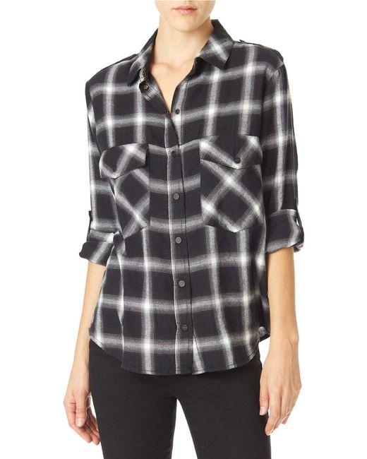 Sanctuary plaid flannel boyfriend shirt in black lyst for Black watch plaid flannel shirt