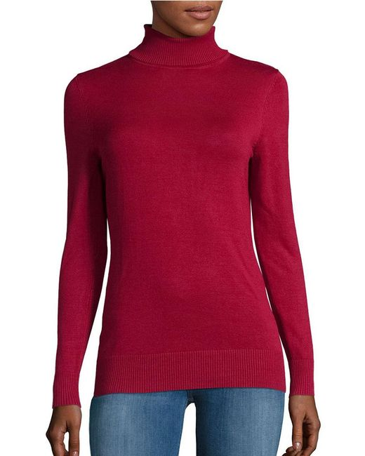 Lord & Taylor | Red Long-sleeve Turtleneck Sweater | Lyst