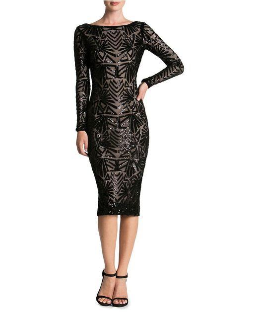 Dress The Population Emery Art Deco Sequin Midi Dress In