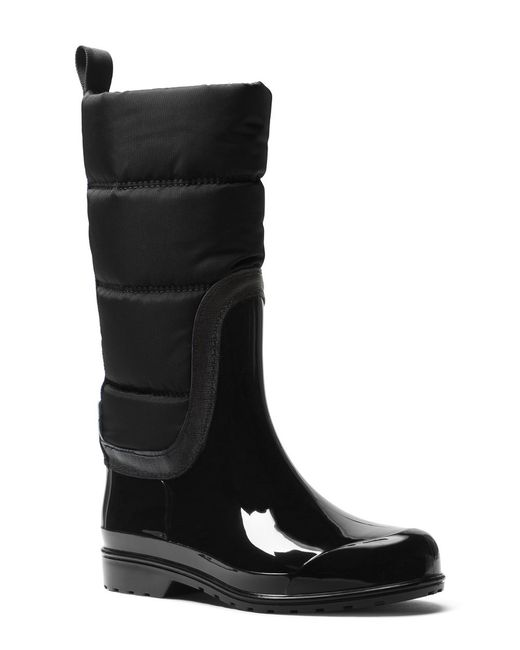 MICHAEL Michael Kors | Black Cabot Quilted Cold Weather Rain Boots | Lyst