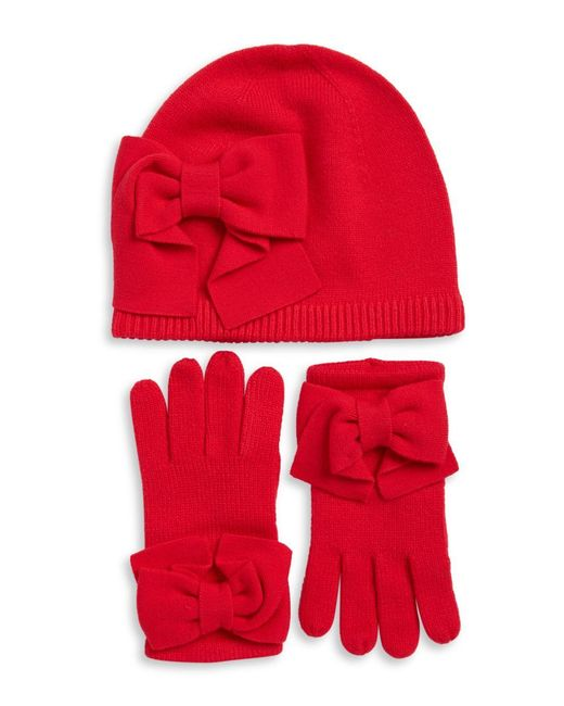 Kate Spade | Red Bow Knit Beanie And Gloves Set | Lyst