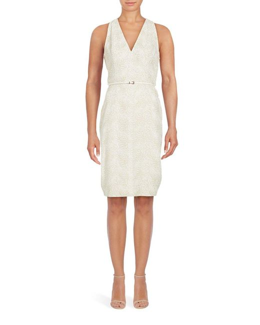 Adrianna Papell | White Effie Embroidered Lace Sheath Dress | Lyst