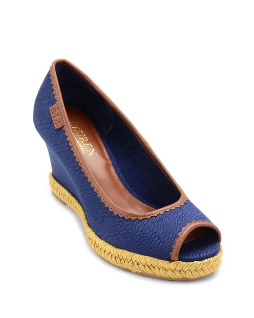 lauren by ralph lauren nella peep toe espadrilles in blue lyst. Black Bedroom Furniture Sets. Home Design Ideas