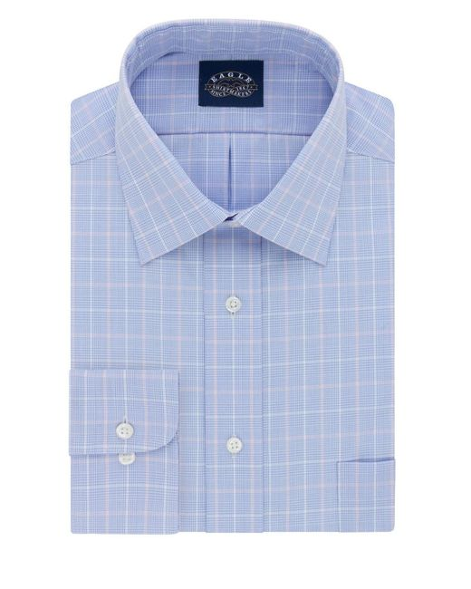 Eagle Azure Checked Cotton Dress Shirt In Blue For Men Lyst
