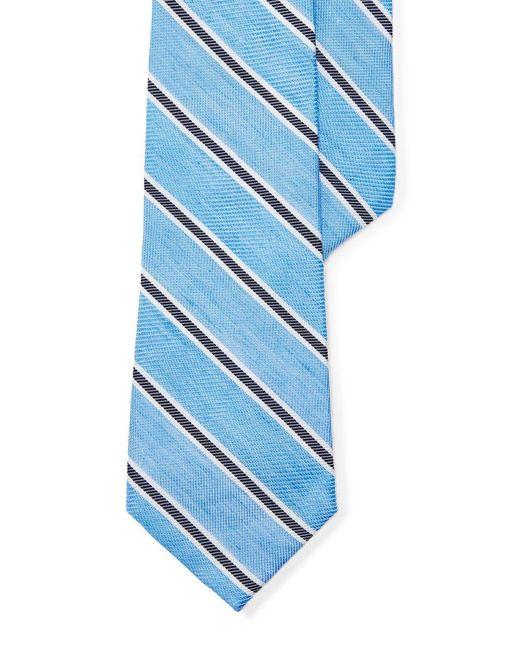 Lauren by Ralph Lauren | Blue Striped Silk-linen Tie for Men | Lyst