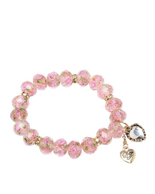Betsey Johnson | Pink Flower Beaded Stretch Bracelet | Lyst