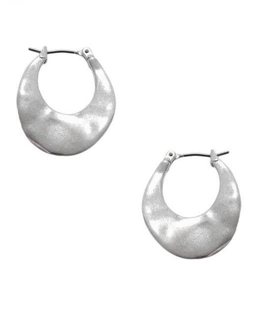 Kenneth Cole   Metallic Silvertone Small Oval Hoop Earrings   Lyst