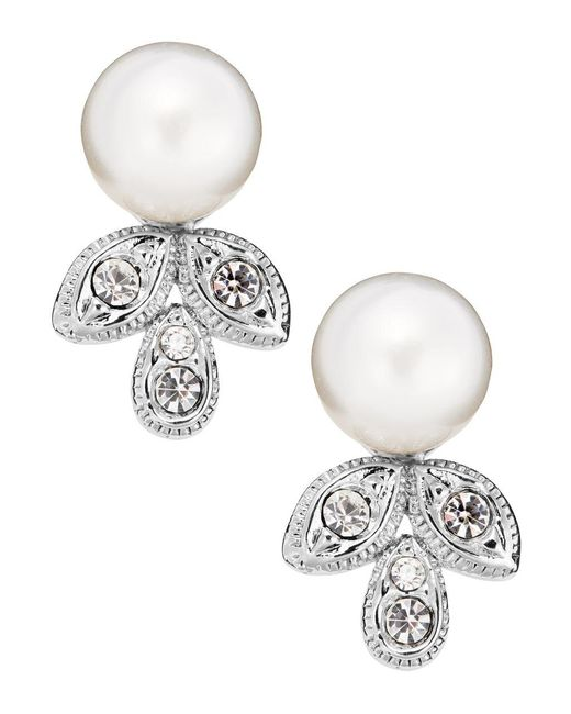 Nadri | White Crystal Leaf Drop Pearl Earrings | Lyst
