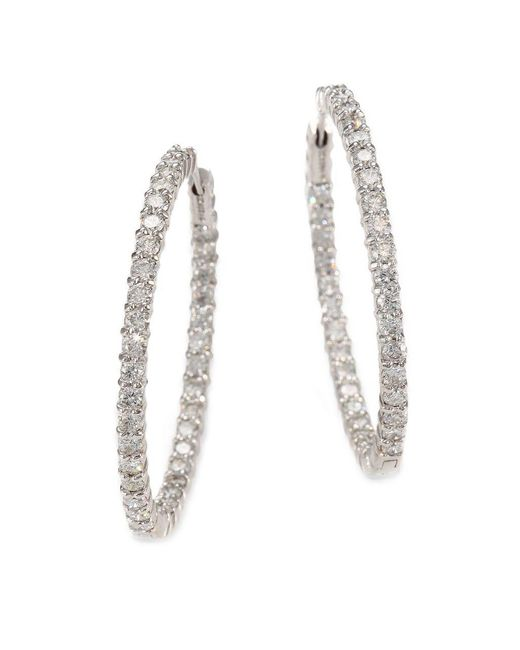 Roberto Coin | Metallic Diamond And 18k White Gold Hoop Earrings 1.4in. | Lyst