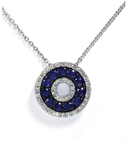 Effy | Blue Royale Bleu 14k White Gold Sapphire And Diamond Pendant | Lyst