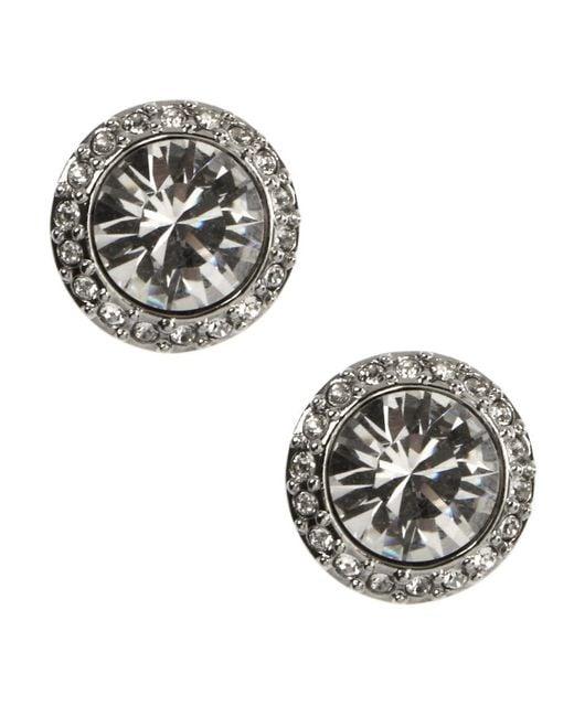 Givenchy | Metallic Silvertone Crystal Stud Earrings | Lyst