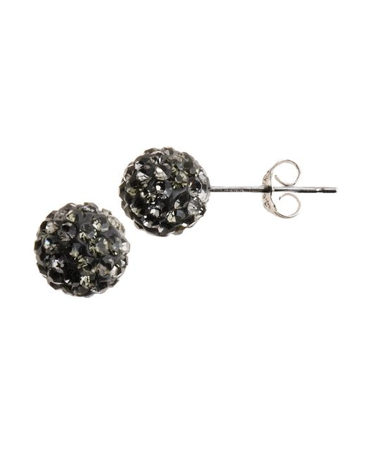 Lord & Taylor | Black Sterling Silver Crystal-encrusted Ball Stud Earrings | Lyst