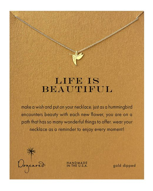 Dogeared | Metallic Gold Dipped Life Is Beautiful Hummingbird Necklace | Lyst